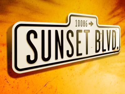sunset boulevard sign with orange background