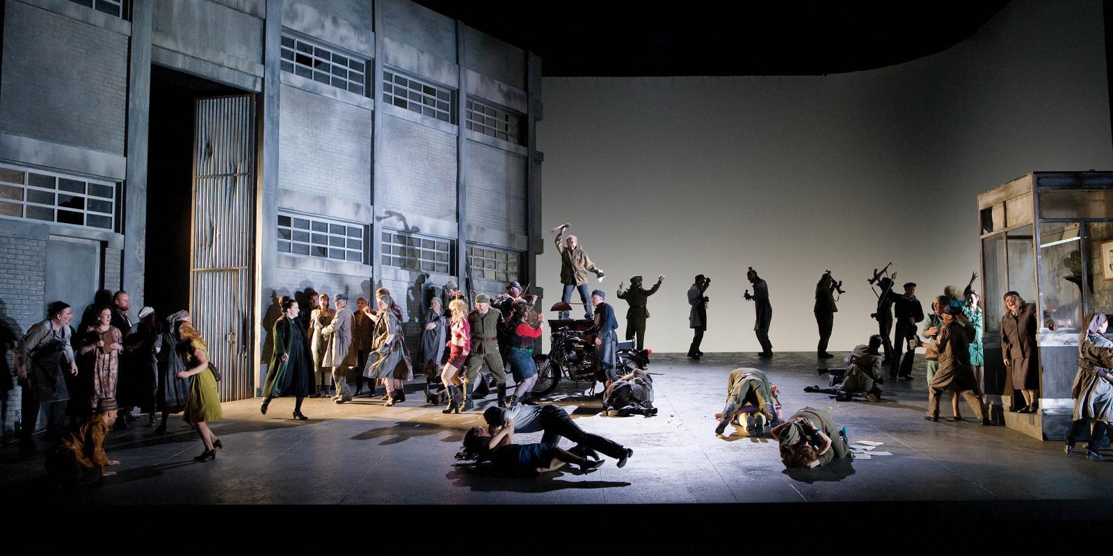 ENO chorus on stage for ENO's production of Jenufa