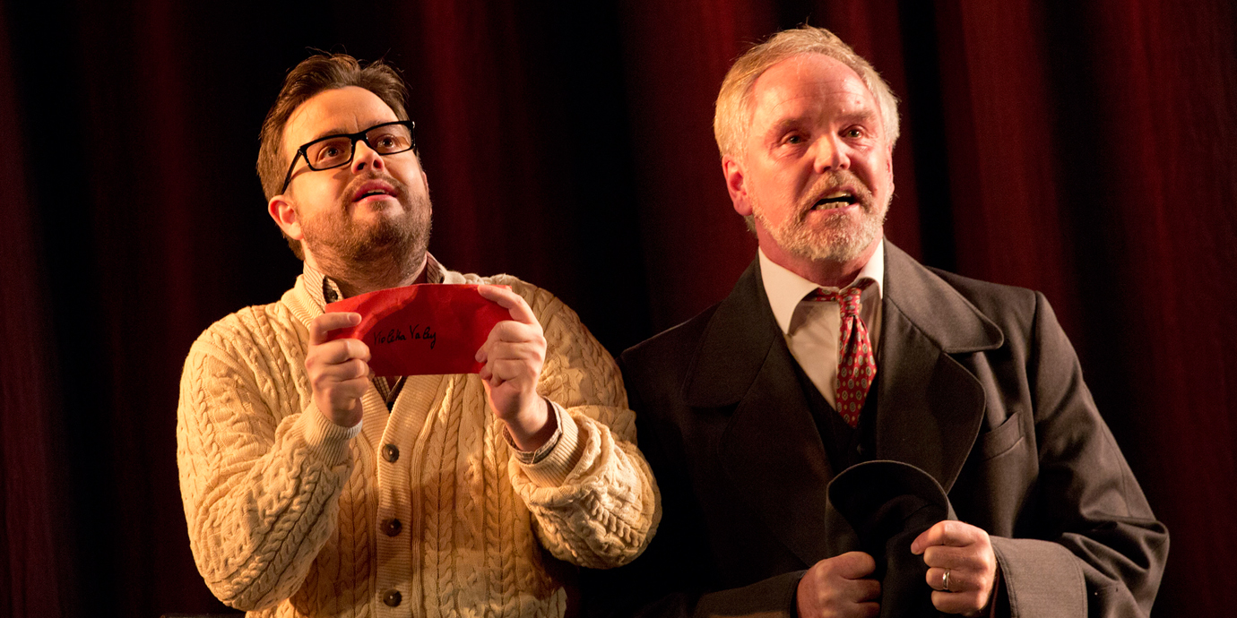 ENO's La traviata - Ben Johnson as Alfredo, Anthony Michaels Moore as Germont. Photo by Donald Cooper.