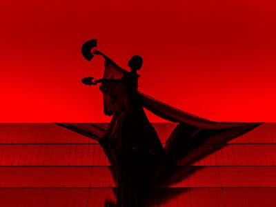 Silhouette of Madam Butterfly holding a hand fan in each hand in front of red lit background