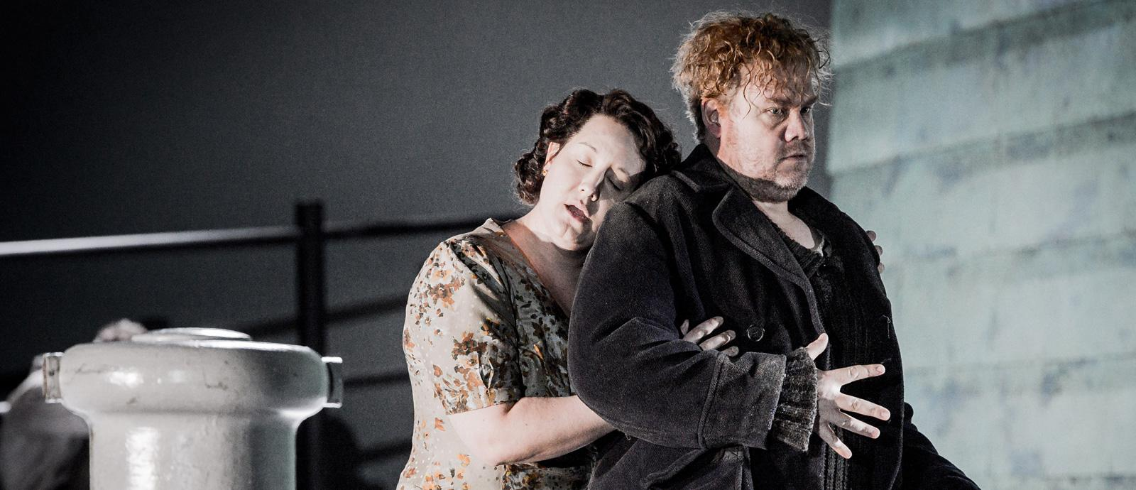 ENO Peter Grimes: Elza Van Den Heever as Ellen Orford and Stuart Skelton as Peter Grimes. (c) Robert Workman