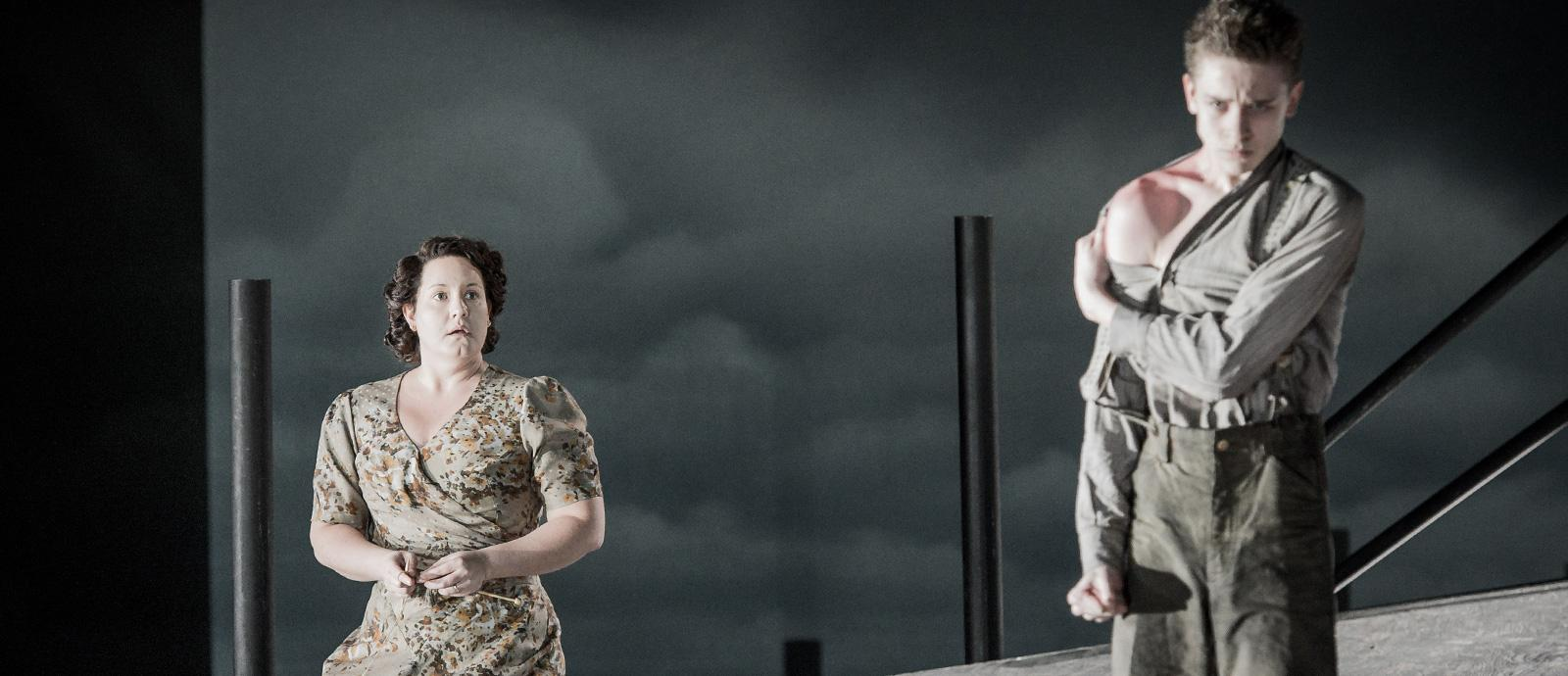 ENO Peter Grimes: Elza Van Den Heever as Ellen Orford and Timothy Kirrage as the Apprentice (c) Robert Workman