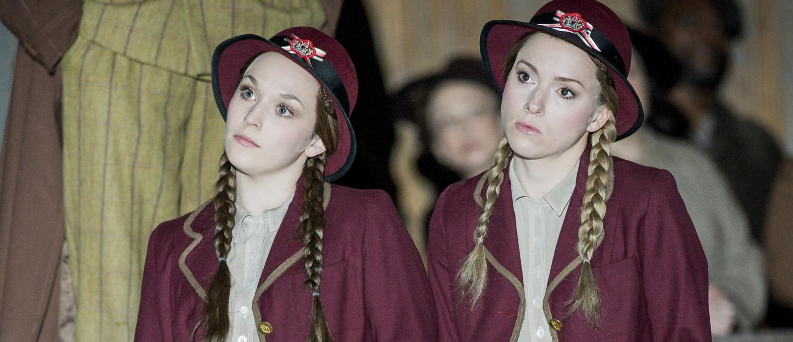 ENO Peter Grimes: Rhian Lois as First Niece and Mary Bevan as Second Niece (c) Robert Workman
