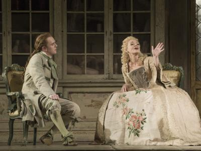 still image of kathryn rudge and morgan pearse from the barber of seville on stage