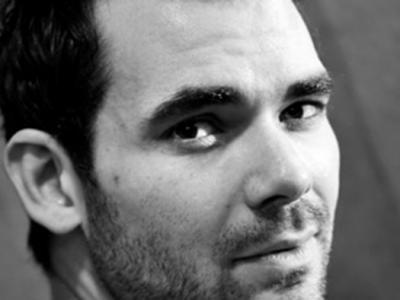 close up black and white portrait of Daniel Kramer
