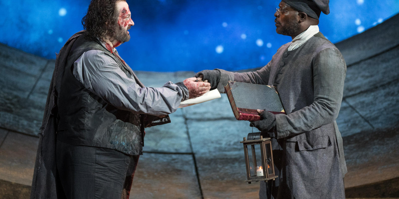 Gwyn Hughes Jones as Cavaradossi and Robert Winslade Anderson as Gaoler
