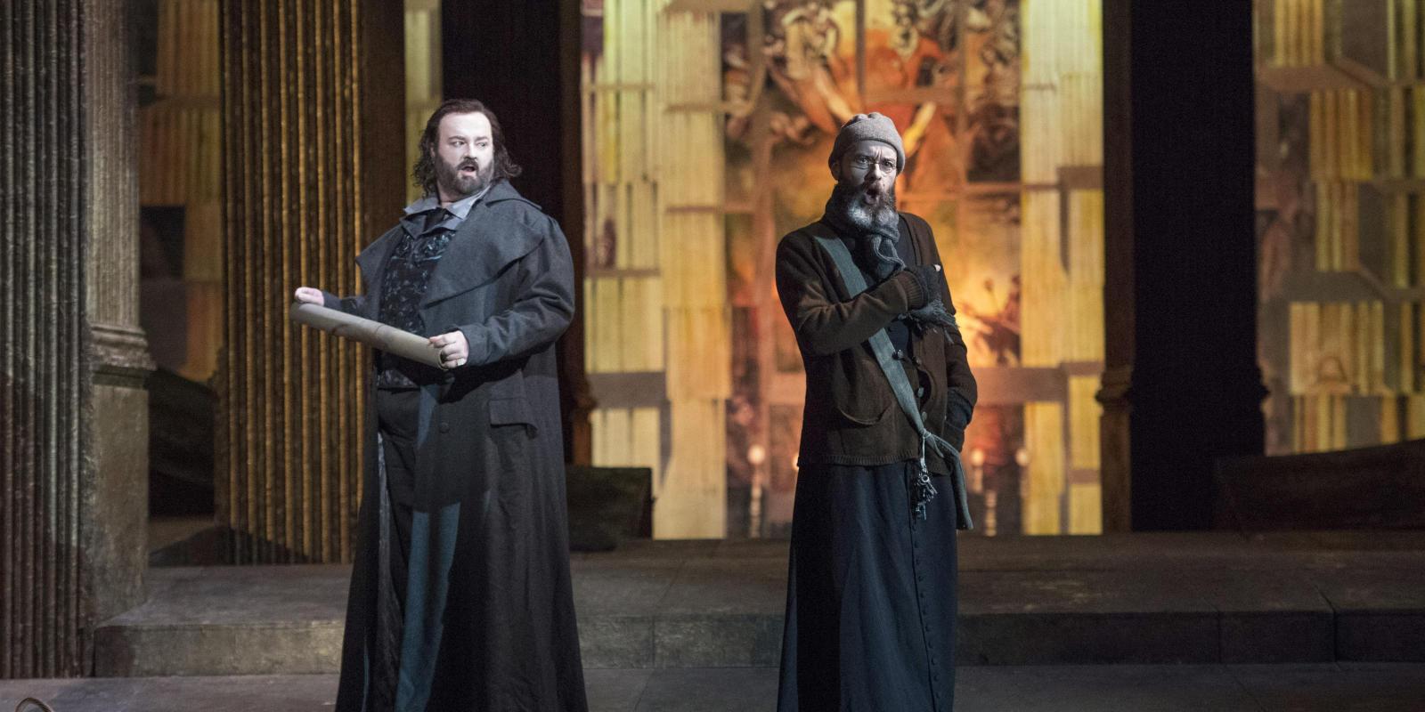Gwyn Hughes Jones as Cavaradossi and Adrian Powter as Sacristan