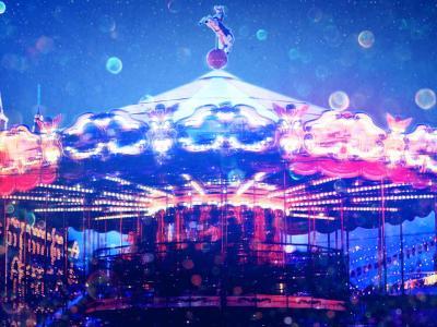 photo of carousel at night