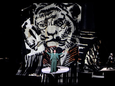 david soar performing on stage in front of tiger graphic