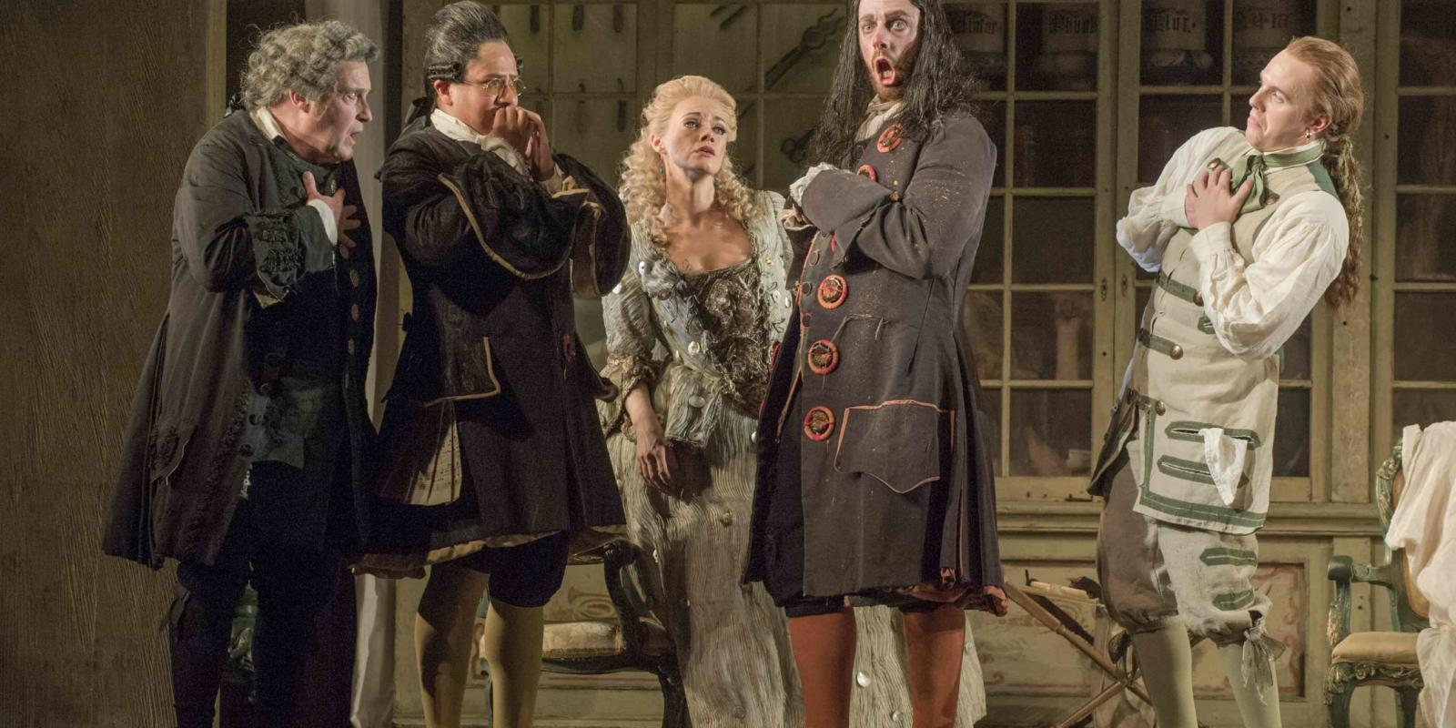 An image of Andrew Shore, Eleazar Rodriguez, Kathryn Rudge, Barnaby rea and Morgan Pearse in Jonathan Miller's 2015 16 production of Barber of Seville