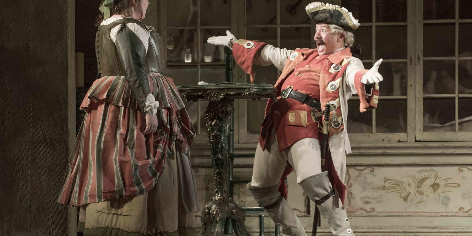 An image of Katherine Broderick and Eleazar Rodriguez in Jonathan Miller's 2015 production of Barber of Seville