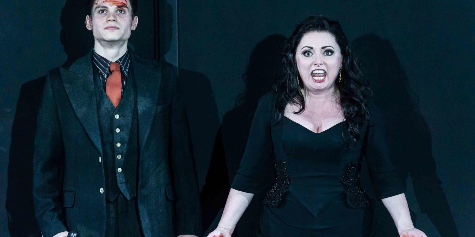 An image of Matt Casey and Rebecca Evans in Richard Jones's 2014 production of Rodelinda
