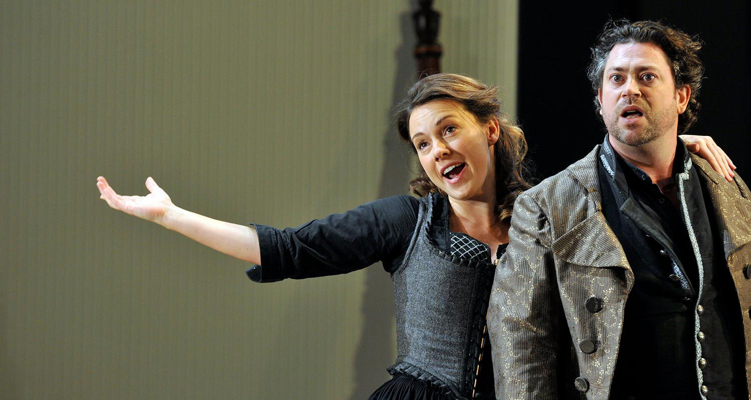 An image of Mary Bevan and David Stout in Fiona Shaw's 2014 production of The Marriage of Figaro