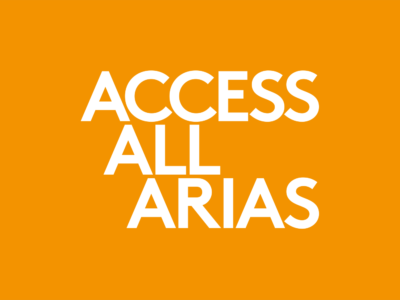 orange background with white text reading access all arias