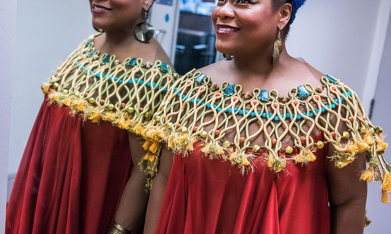 Latonia Moore in full costume as Aida (c) Tristram Kenton