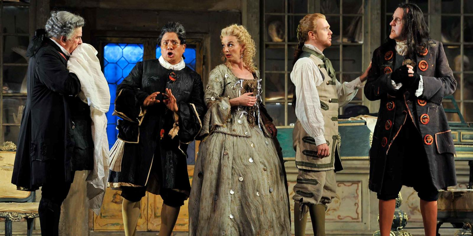 ENO The Barber of Seville: Alan Opie, Eleazar Rodriguez, Sarah Tynan, Morgan Pearse and Alastair Miles (c) Robbie Jack