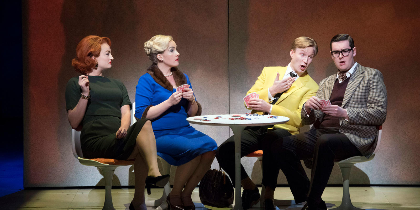 Eleanor Dennis, Sasha Cooke, James Laing, Matthew Durkan playing poker (c) Richard Hubert Smith