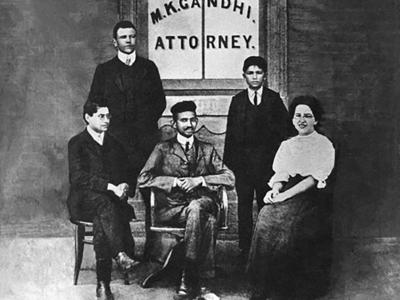 Gandhi and his colleagues at his law office in Johannesburg, South Africa in 1905