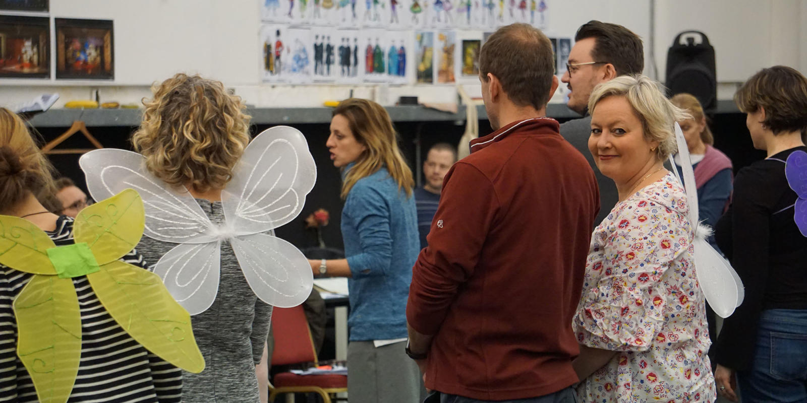 ENO Iolanthe: members of the ENO chorus taking instruction from choreographer Lizzi Gee