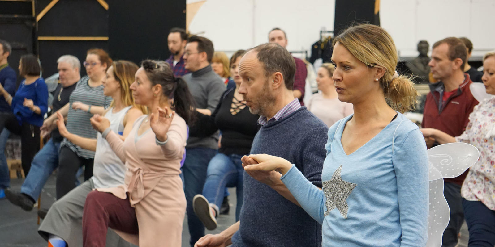 ENO Iolanthe: Flick Ferdinando and Joanne appleby dancing with members of the ENO chorus