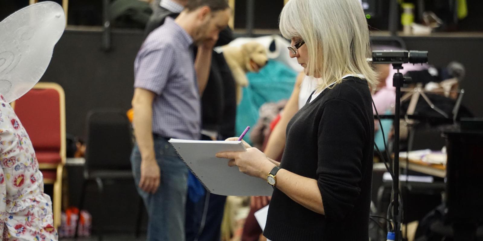 ENO Iolanthe: ENO Staff Director Donna Stirrup taking notes