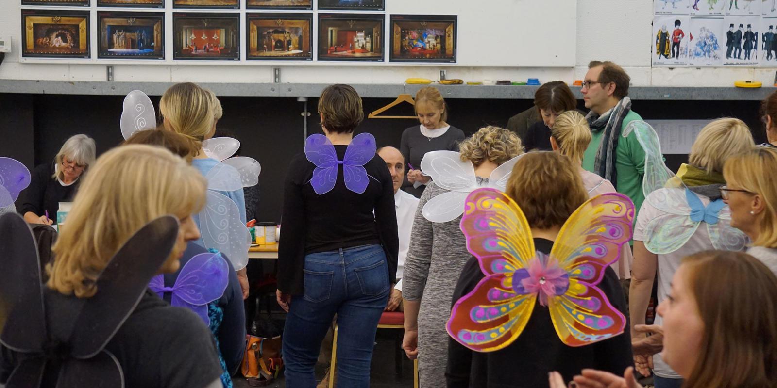 ENO Iolanthe: female members of the ENO chorus wearing fairy wings