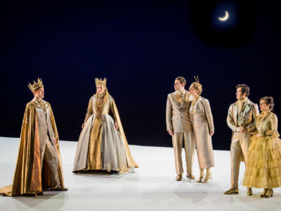 ENO A Midsummer Nights Dream: Andri Björn Róbertsson, Emma Carrington, Matthew Durkan, Eleanor Dennis, David Webb, Clare Presland (c) Robert Workman