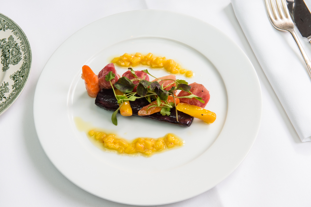 Baked candied beetroot and heritage carrots, mango chutney dressing