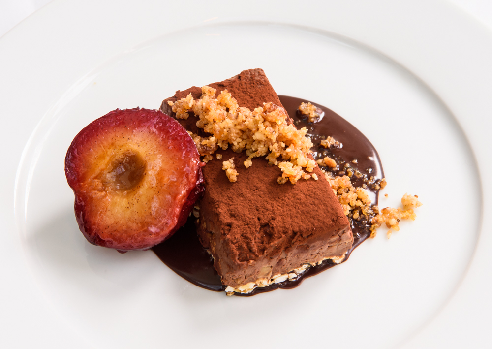 Rich vegan chocolate mousse, Maple rice cake, walnut brittle, caramelized plum