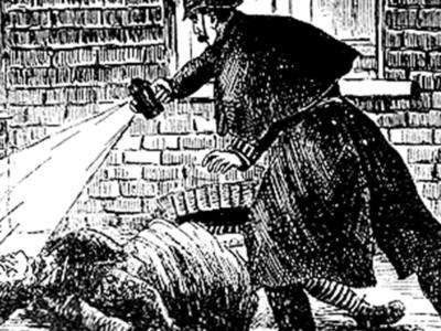 Jack the ripper sketch showing a police officer examining a body
