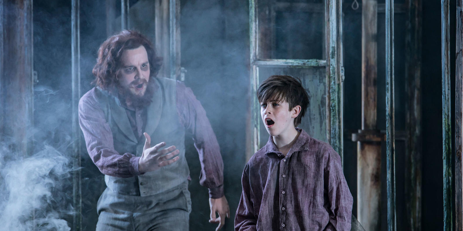 ENO 2017/18 The Turn of the Screw: William Morgan and Sholto McMillan as Peter Quint and Miles. Photo Johan Persson.