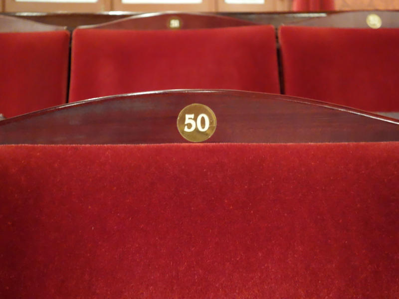 Interior seating in the auditorium of the London Coliseum