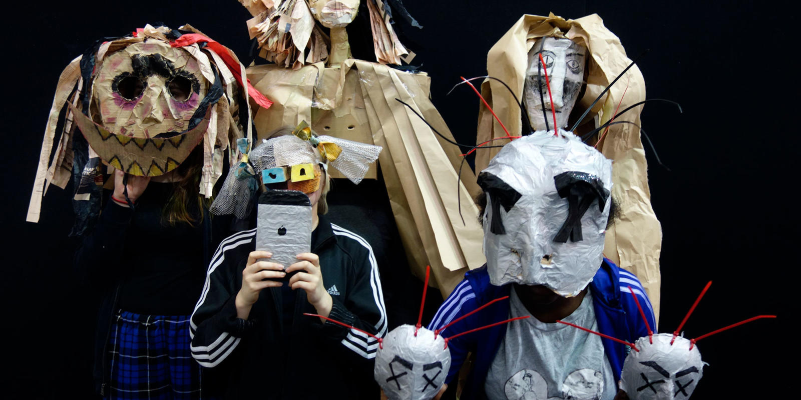 Masks created in response to ENOs production of Satyagraha February 2018