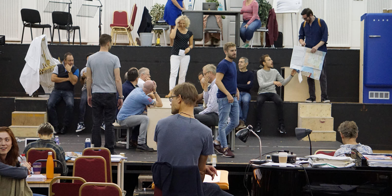 ENO Studio Live Paul Bunyan: cast and crew rehearsing