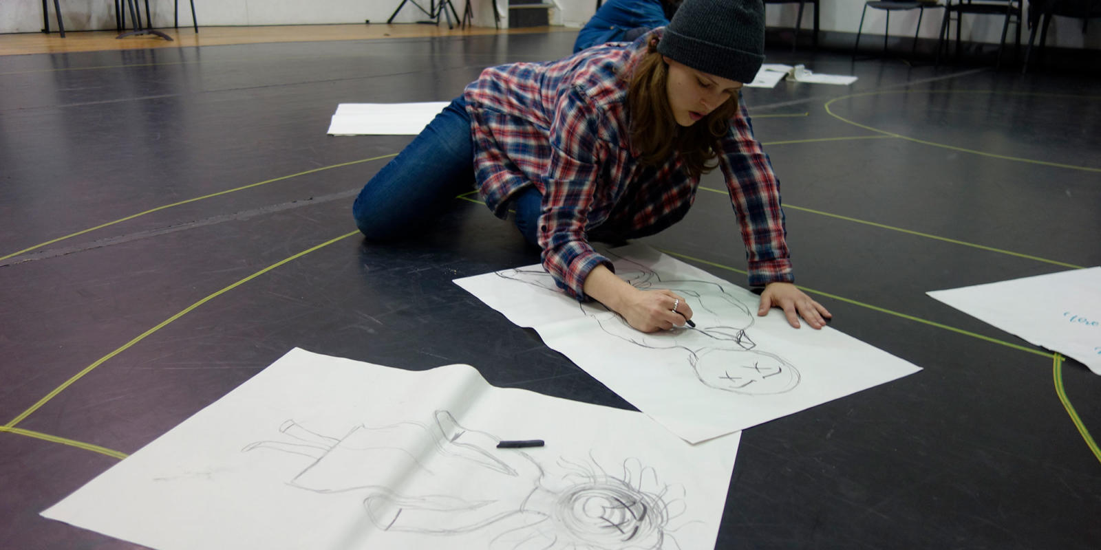 ENO Youth Company 2017/18 - participants sketching after working with designer Rhiannon Newman Brown