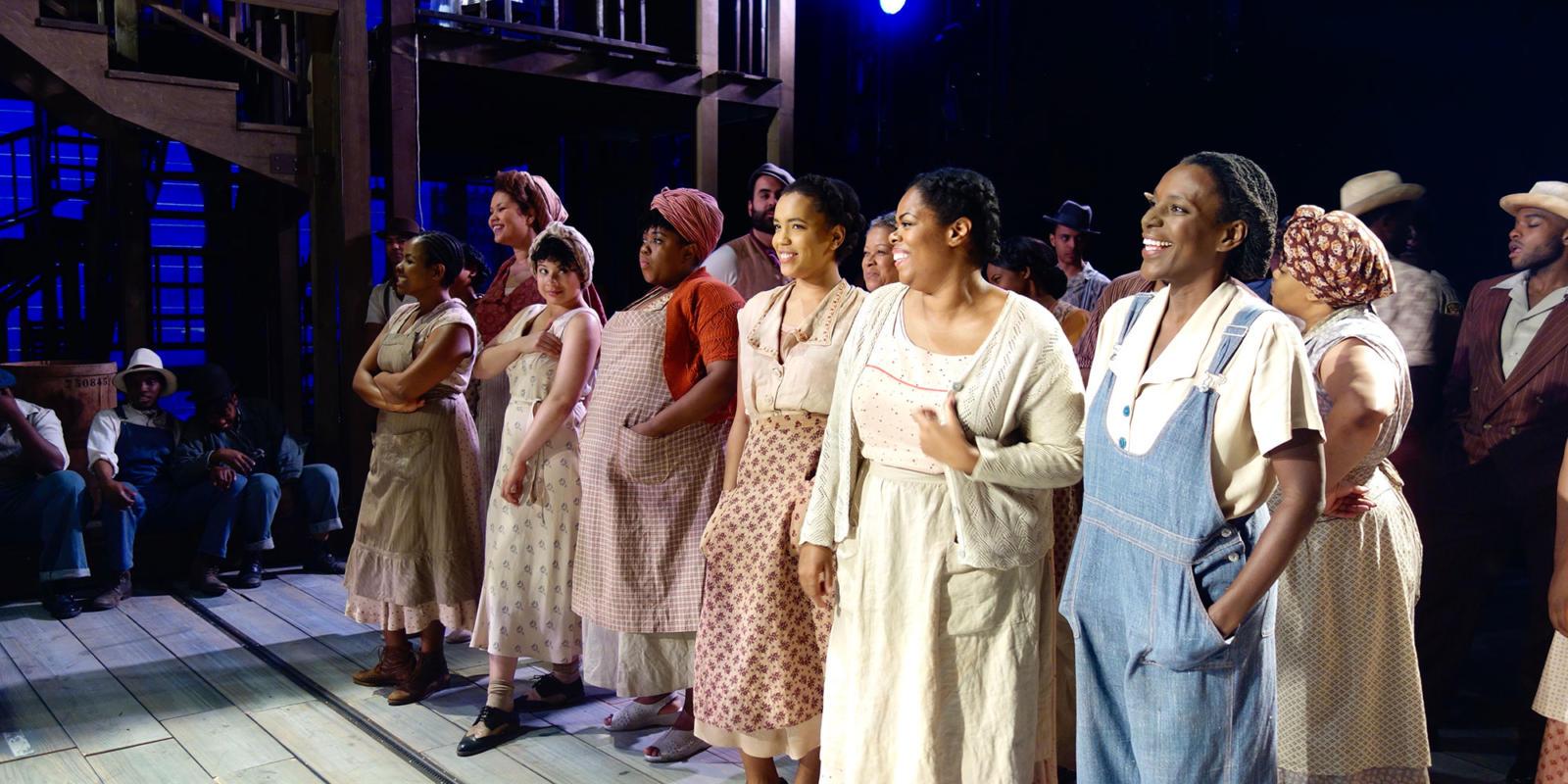 ENO Porgy and Bess: Nozuko Teto (Strawberry Woman), Simone Ibbett-Brown, Isabelle Peters, Fikile Mthethwa, Rachel Oyawale, Sarah-Jane Lewis (Annie) and Jordene Thomas on stage after the show