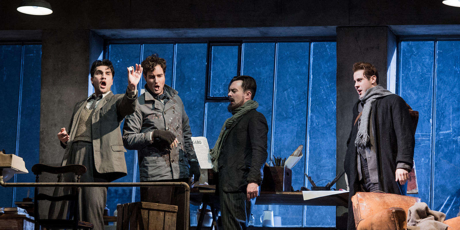 Bozidar Smiljanic (far right) in Jonathan Miller's 2018/19 production of Puccini's La bohème.