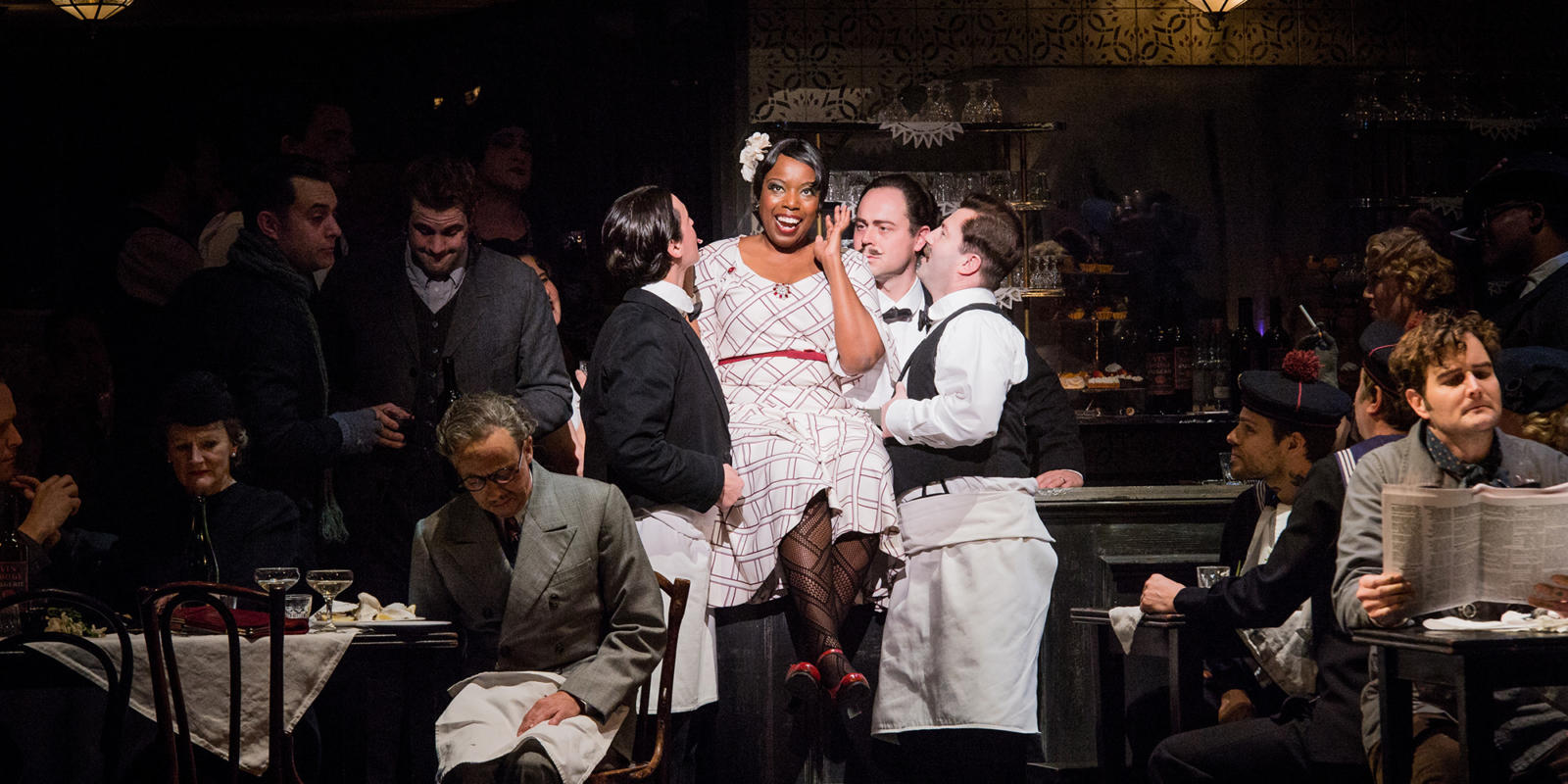 ENO La bohème: Nadine Benjamin and cast (c) Robert Workman