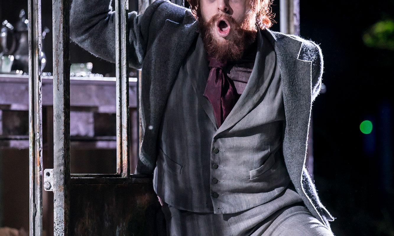 Elgan Llyr Thomas as Peter Quint the in the 2017/18 production of Britten's The Turn of the Screw.