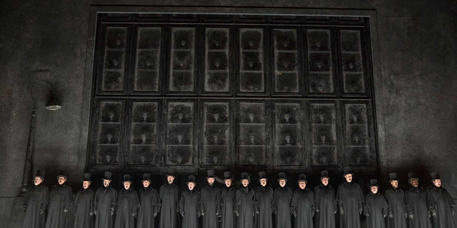 ENO 2018/19 Jack the Ripper: The Women of Whitechapel: Male members of the ENO Chorus © Alastair Muir
