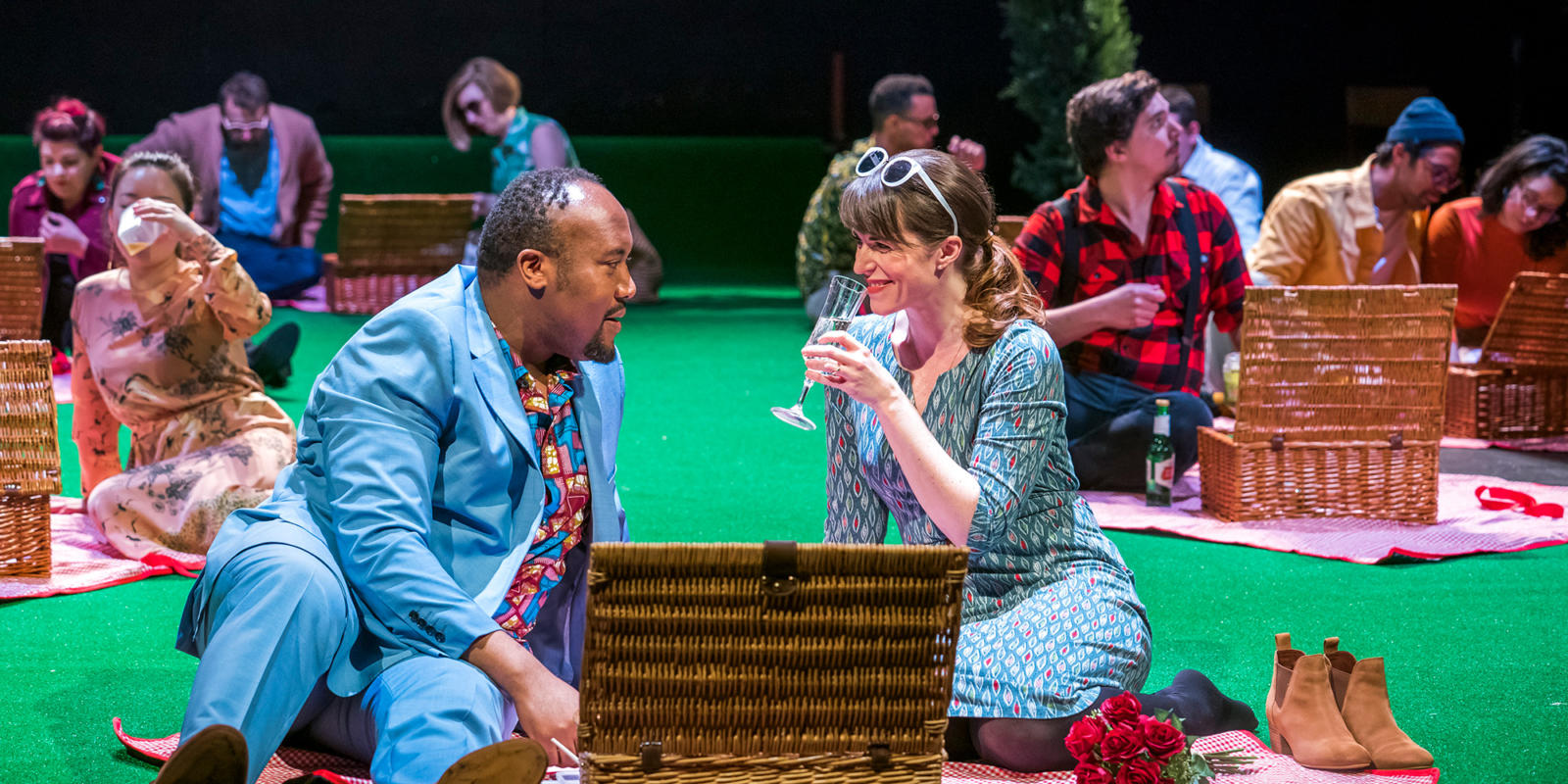 Njabulo Madlala as Aeneas, Rachael Lloyd as Dido in Dido at the Unicorn Theatre. Photo Tristram Kenton