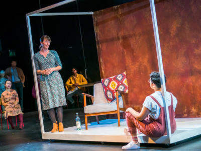 Rachael Lloyd, Eyra Norman and chorus in Dido at the Unicorn Theatre. Photo Tristram Kenton