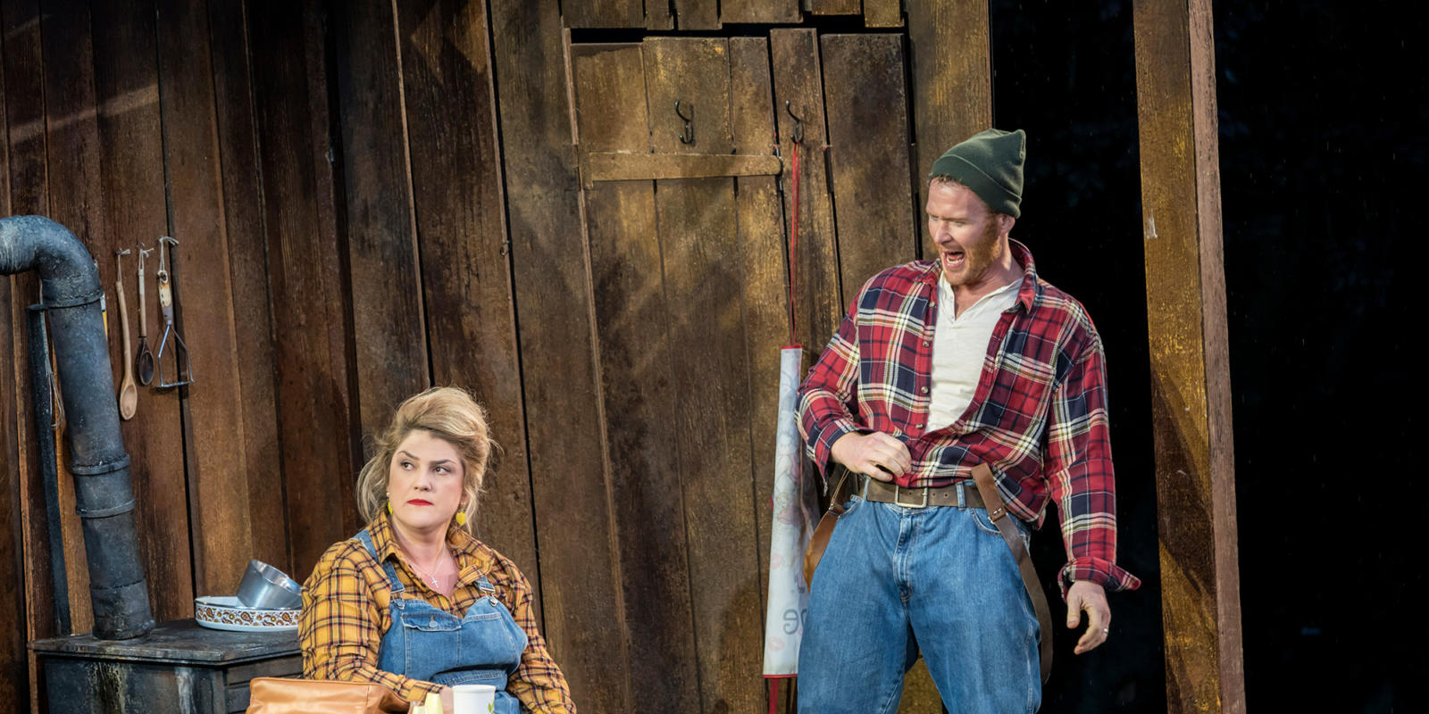 ENO Hansel and Gretel at Regent's Park Open Air Theatre: Rosie Aldridge and Duncan Rock as Mother and Father (c) Johan Persson.