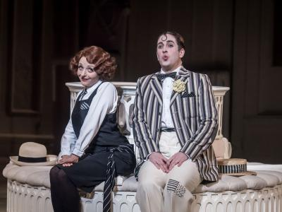 Harewood Artists' Soraya Mafi and Elgan Llyr Thomas sat on a Bench in The Mikado