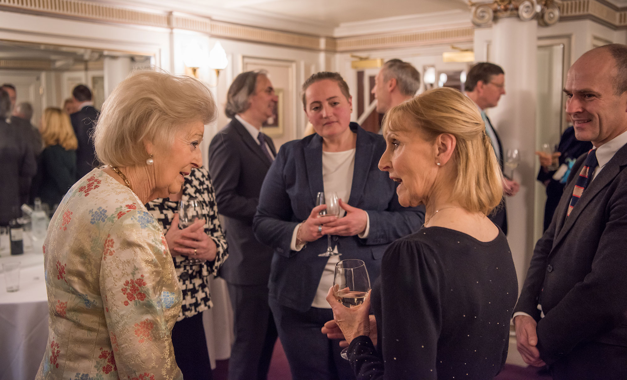 Princess Alexandra with ENO Stage Manager Rosalind Davis and Head of Movement Carol Grant © Genevieve Girling
