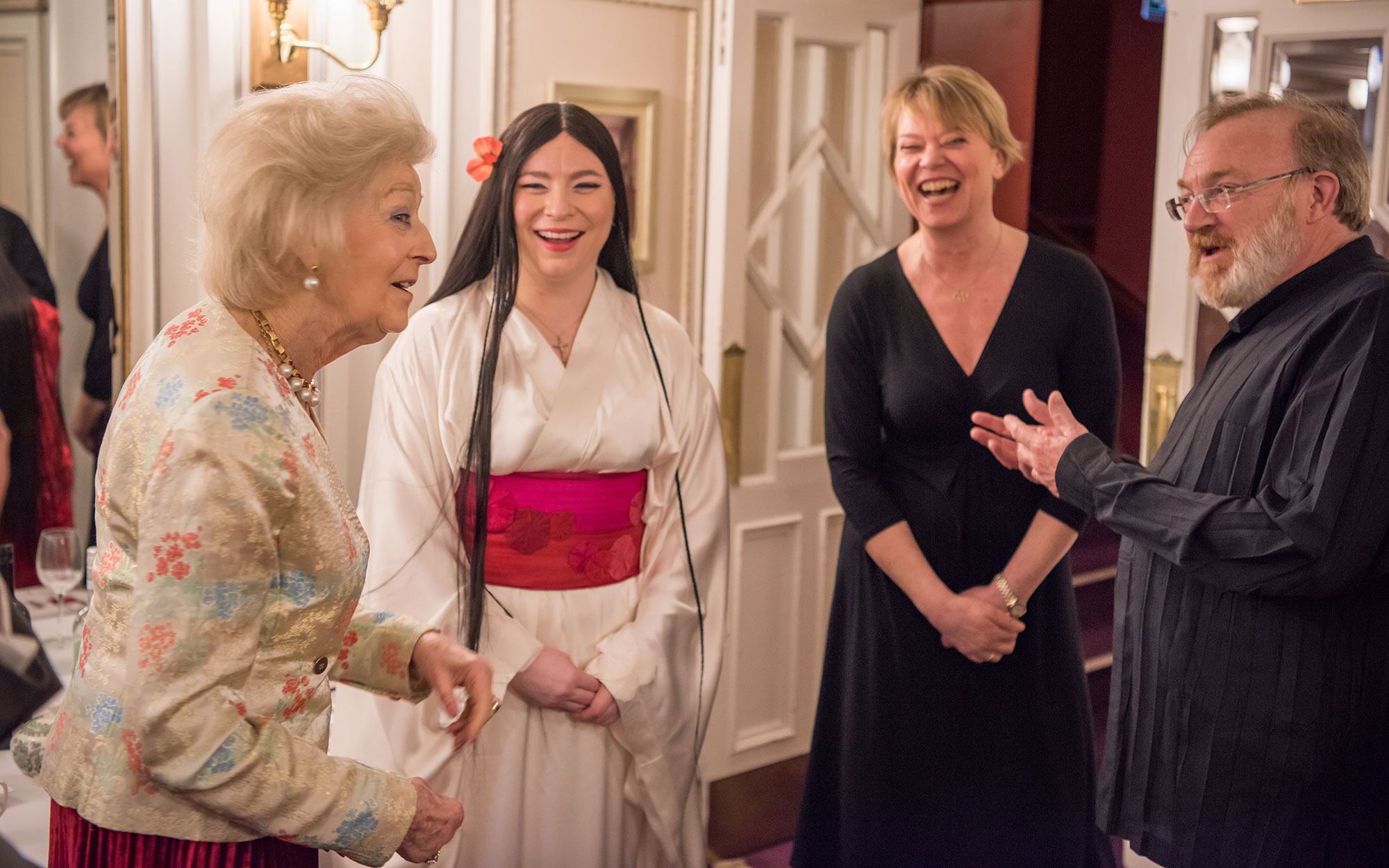 Princess Alexandra with Soprano Natalya Romaniw following her performance in the title role of Madam Butterfly, ENO Company Manager Nicole Richardson and Music Director Martyn Brabbins, who conducted this production © Genevieve Girling