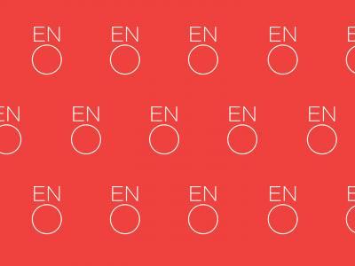 White ENO logo on pink zoom background