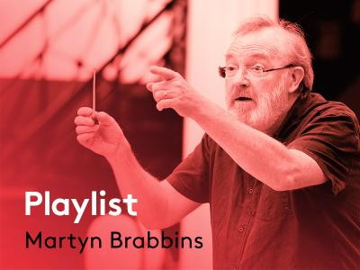 man conducting with the text playlist martyn brabbins