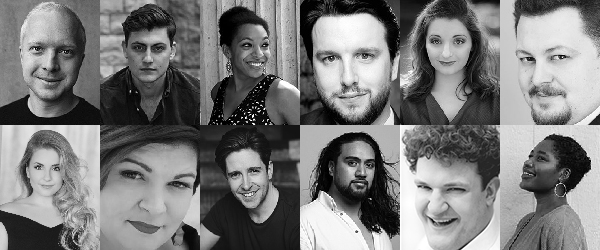 black and white portraits of cast members