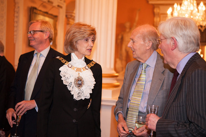 Dame Fiona Woolf, Lord Major of London (2013-14), in conversation with Sir Nicolas Goodison (President of the FHS) at the societies 50th Anniversary Reception at Mansion House, 5th June 2014.